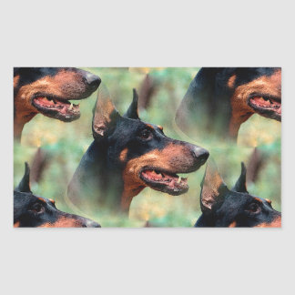 Doberman Pinscher in the Woods Rectangular Sticker