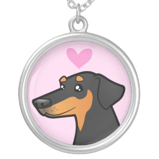 Doberman Pinscher Love (floppy ears) Silver Plated Necklace