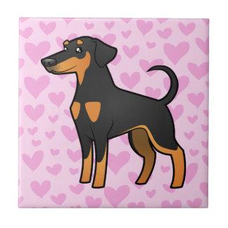 Doberman Pinscher Love (floppy ears) Tile