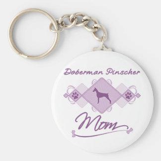 Doberman Pinscher Mom Basic Round Button Key Ring
