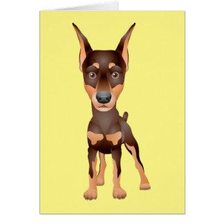 Doberman Pinscher Puppy Dog Blank Yellow Note Card