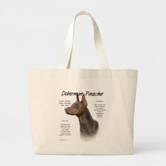 Doberman Pinscher (red) History Design Large Tote Bag