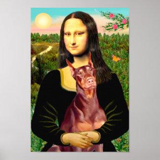 Doberman Pinscher  (red) - Mona Lisa Poster