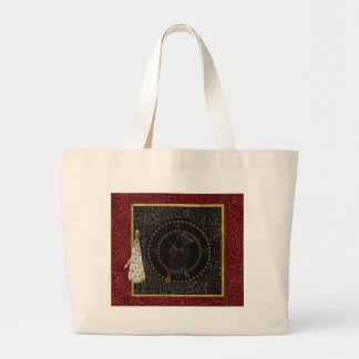 Doberman Pinscher, Round Shape, Dog in Chinese Large Tote Bag