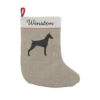Doberman Pinscher Silhouette with Custom Text Small Christmas Stocking