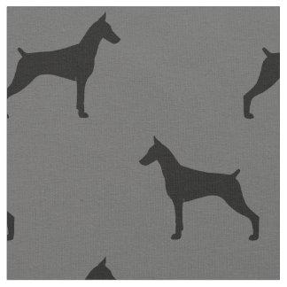 Doberman Pinscher Silhouettes Pattern Fabric