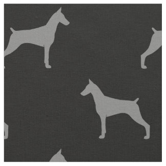 Doberman Pinscher Silhouettes Pattern Fabric