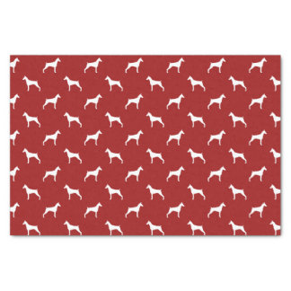 Doberman Pinscher Silhouettes Pattern Red Tissue Paper