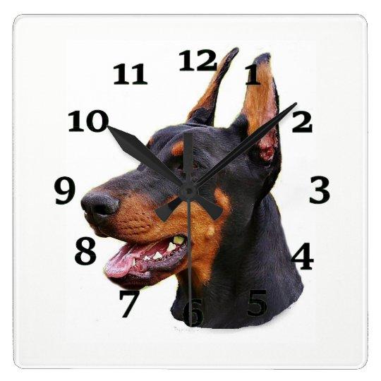 Doberman Pinscher Square Wall Clock
