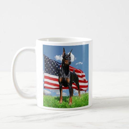 Doberman Pinscher w Flag & clouds Mug