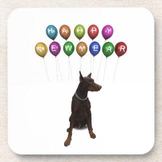 Doberman Pinscher wishing Happy New Year 2016 Coaster