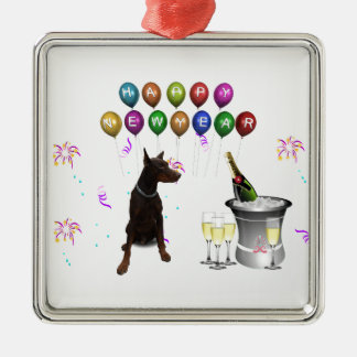Doberman Pinscher wishing Happy New Year 2016 Silver-Colored Square Decoration