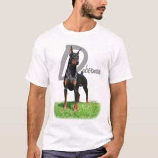 Doberman Pinscher with breed name t-shirt