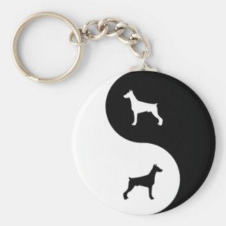 Doberman Pinscher Yin Yang Basic Round Button Key Ring
