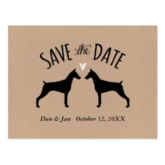 Doberman Pinschers Wedding Save the Date Postcard