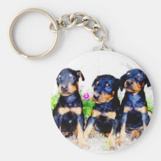 Doberman puppies keychain