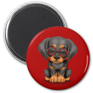 Doberman Puppy Dog with Reading Glasses, red 6 Cm Round Magnet