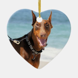 Doberman - Red - Bad to the Bone Christmas Ornament