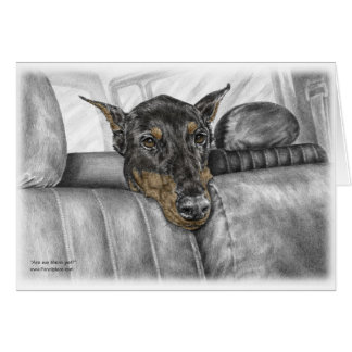 Doberman Riding in Car Greeting Card