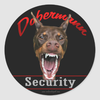 Doberman Security Round Sticker