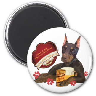Doberman Share A Beer With Your Best Friend 6 Cm Round Magnet