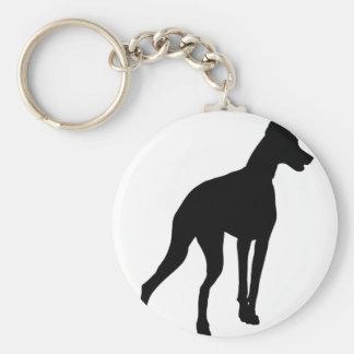 Doberman Silhouette Basic Round Button Key Ring