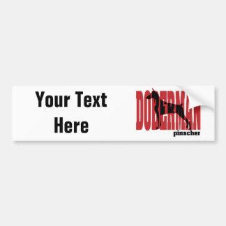 Doberman Silhouette, stacked Bumper Sticker
