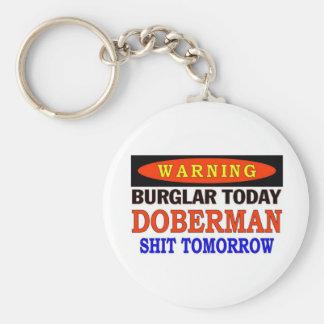 DOBERMAN WARNING BASIC ROUND BUTTON KEY RING