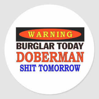 DOBERMAN WARNING CLASSIC ROUND STICKER