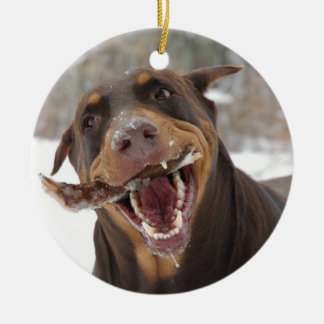DOberman with a Stick Christmas Ornament