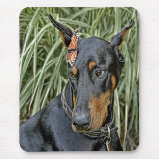 Doberman with Butterfly Mousepad