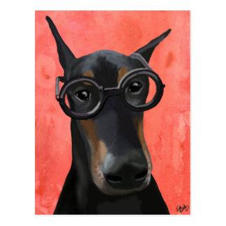 Doberman With Glasses Postcard