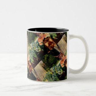 Doberman with Rabbit Two-Tone Coffee Mug