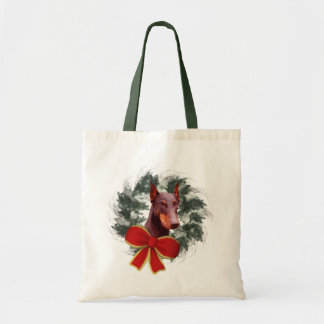 Doberman Wreath Christmas Holiday Tote Bag