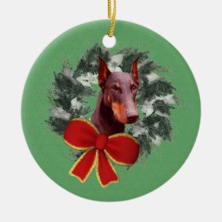 Doberman Wreath Holiday Dog Ornament