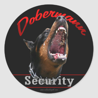 Dobermann Security Round Sticker