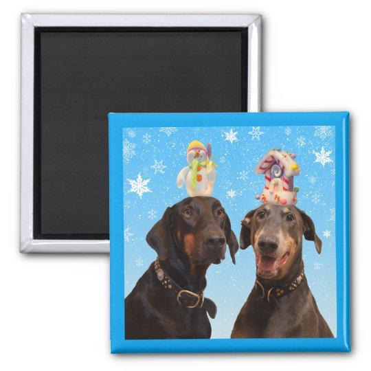 Dobermans winter Christmas funny square magnet