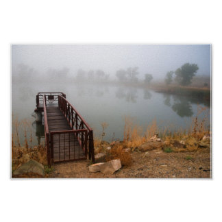 Dock and Lake in the Mist Poster