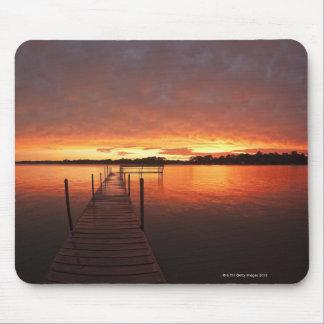 Dock at sunset on Lake Minnetonka,MN. Mouse Mat
