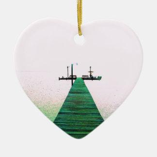Dock Bay Ocean Calm Texas Coast Christmas Ornament