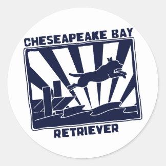 Dock Jumping Chesapeake Bay Retriever Classic Round Sticker