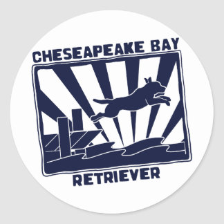 Dock Jumping Chesapeake Bay Retriever Round Sticker