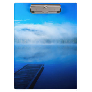 Dock on calm misty lake, California Clipboards