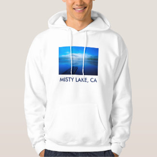 Dock on calm misty lake, California Hoodie