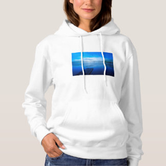 Dock on calm misty lake, California Hoodie