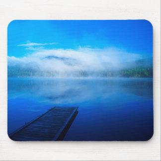 Dock on calm misty lake, California Mouse Mat