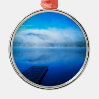 Dock on calm misty lake, California Silver-Colored Round Decoration