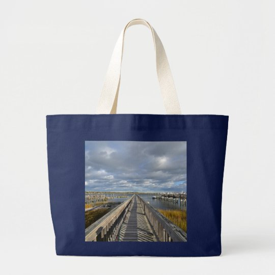 Dock On The River Boating Large Tote Bag