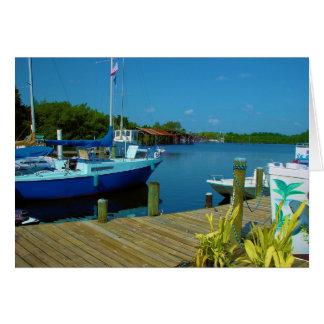 docked boat-florida card