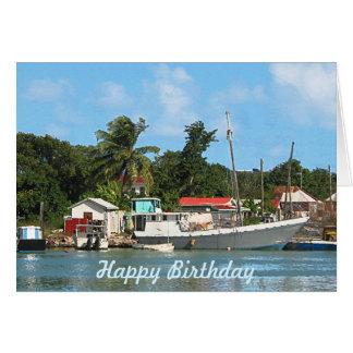 Docked Boats Antigua Card